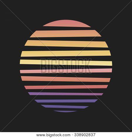 Stock Vector Retro Sun Grid Illustration Of Retro, Background Landscape Posters Style. Vector Illust
