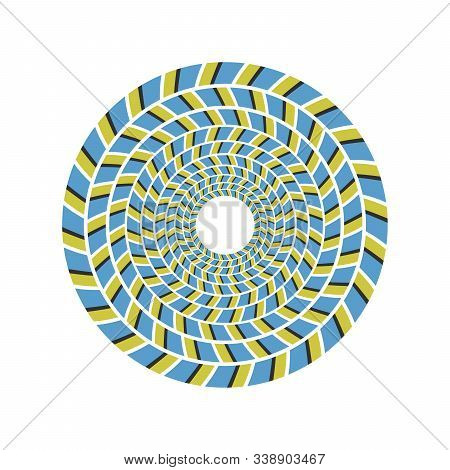 Psychedelic Optical Spin Illusion Vector Background. Illusion Of Motion Effect Illustration.