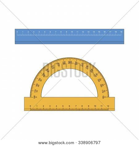 Ruler, Triangle Ruler, Protractor For School And Business. Vector Illustration.