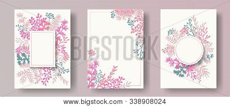 Watercolor Herb Twigs, Tree Branches, Flowers Floral Invitation Cards Templates. Herbal Corners Crea