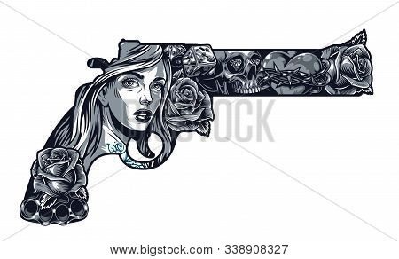 Vintage Chicano Tattoo Concept In Gun Shape With Pretty Girl Roses Dice Brass Knuckles Heart In Barb