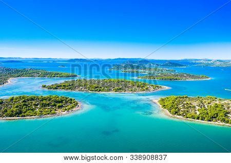 Croatian Coastline, Small Islands In Murter Archipelago, Aerial View Of Turquoise Bays From Drone, T