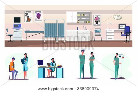 Medical Aid Flat Vector Illustration Set. First Aid Station, Emergency, Patient With Broken Arm In D