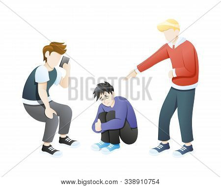 Verbal Bullying Vector Illustration. Vector Concept Of Bullying And Teen Harassment Young Angry Man