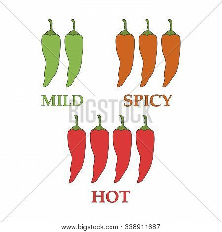 Vector Red Hot Chilli Peppers Mild Medium Hot.