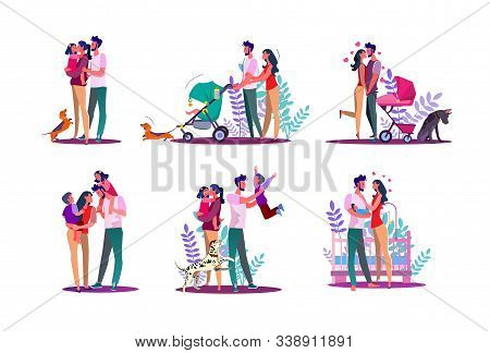 Happy Family Set. Couple With Kids Walking, Enjoying Time Together. Flat Vector Illustrations. Famil