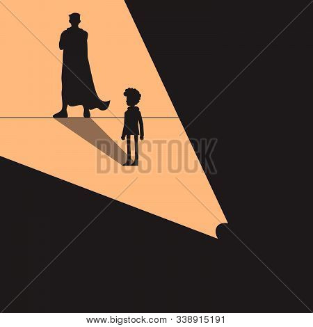 Confident Power. Boy Standing In Front Wall With Shadow Successful Super Hero, Isolated On Backgroun