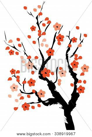 Vector Illustration Of A Cherry Tree In Blossom On White Background.