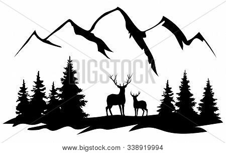 Vector Illustration Of Deer Silhouettes, Mountains, Forest.