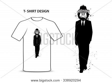 Gorilla In A Suit Vector Illustration, Monkey Bodyguard Cartoon, Chimpanzees Character, Animal Graph