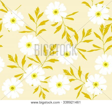 Vector Illustration Of Seamless Background With Flowers.