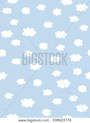 Lovely Seamless Vector Pattern With White Fluffy Hand Drawn Clouds Isolated On A Light Blue Backgrou