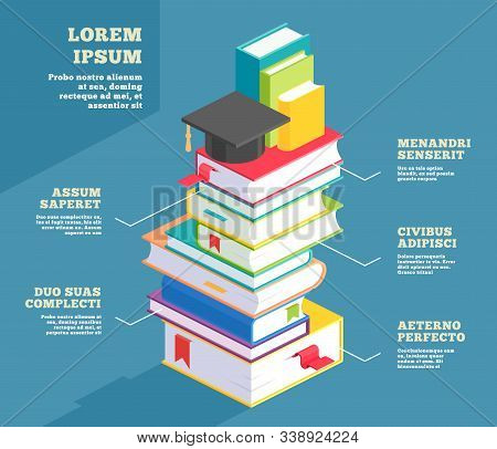 Stack Of Book Infographic Or Pile School Textbook