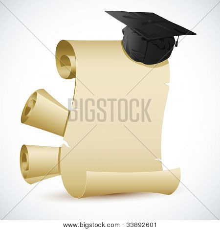 illustration of mortar board on blank scroll paper