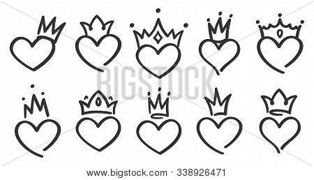 Hand Drawn Crowned Hearts. Doodle Princess, King And Queen Crown On Heart, Sketch Love Crowns. Weddi
