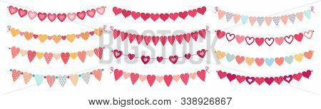 Bunting Hearts. Love Valentines Heart Shapes Buntings, Wedding Day Decorations And Ornament Cute Hea