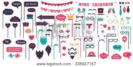 Photo Booth Props. Wedding Speech Bubble Frames, Doodle Love Heart Frame, Mustache And Glasses On Pr