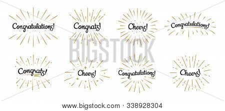 Congratulations Lettering. Congrats Label, Cheers Celebration And Congratulation Text Badges With Go