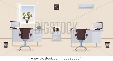Interior Of Working Place In The Office On The Light Cream Background. Vector Illustration. Furnitur