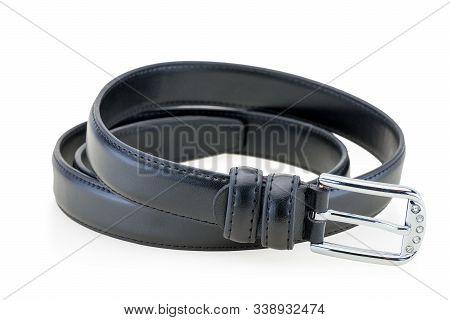 Female Black Leather Belt Isolated On White Background