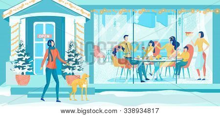 Snowy City Streets. Restaurant Window Decorated With Lights. Big Family Spending Cold Winter Night,