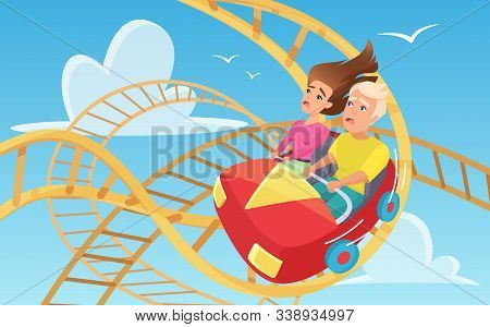 Man And Woman On Roller Coaster Flat Vector Illustration. Ccartoon Characters Taking Amusement Ride.