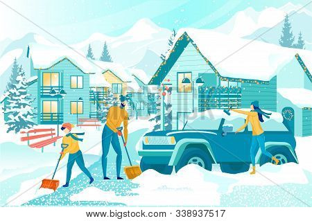 Removing Deep Snow After Snowfall. School Age Boy With Shovel Helping Parents To Clear Sidewalk In F