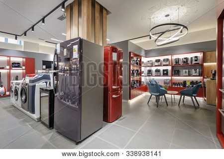 refrigerators, washing machines and coffee machines in the premium home appliance store