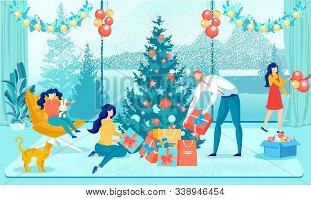 Happy Christmas And New Year Family Preparation. Parents Packing Gifts Boxes. Children Decorating Xm