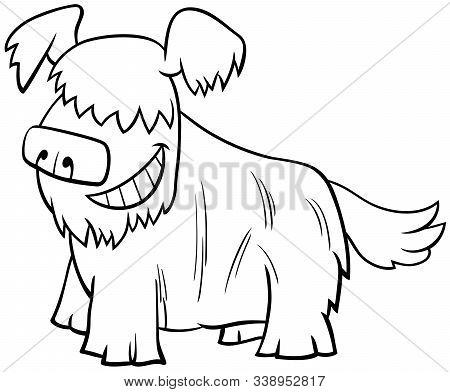 Black And White Cartoon Illustration Of Happy Shaggy Dog Or Puppy Comic Animal Character Coloring Bo
