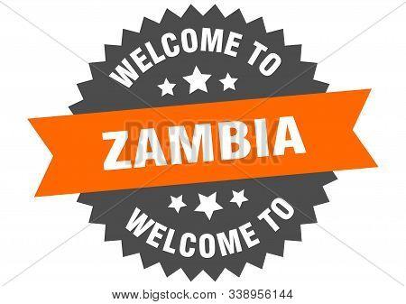 Zambia Sign. Welcome To Zambia Orange Sticker