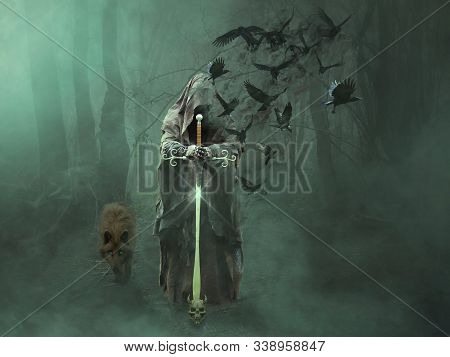 In Images Magic Foggy Forest Tree With A Woman Person. Double Exposure Effect Used.