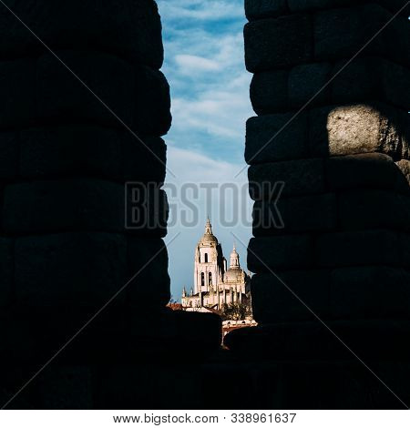 A View To Famous Ancient Roman Aqueduct Of Segovia And Cathedral At The Background, Castille And Leo