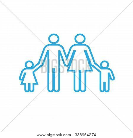 Family With Two Children Icon. Parents And Kids Symbols. Flat Icons On White. Vector