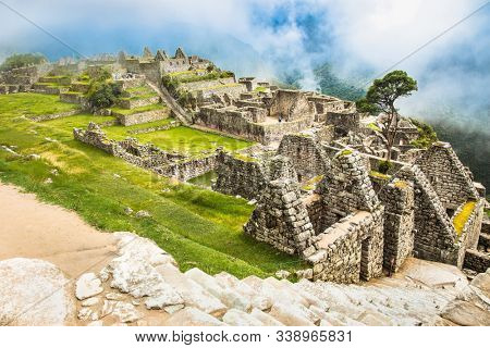 Incredible Inca House in Ancient city of Machu Picchu , Peru. South America.  Archaeological site.