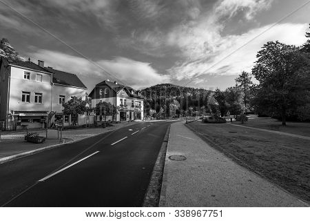 Oybin, Germany - October 10, 2019: Streets Of A Small Old Town On The Border Of Germany (saxony) Wit