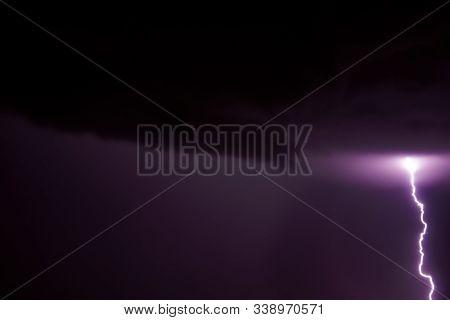 Lighting Bolt! Summer Rainstorm. Summer 2019 In Tuscany