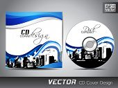 CD cover presentation design template, copy space and wave effect with urban city silhouette, editable EPS10 vector illustration. poster