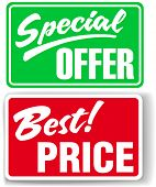 Two retail store window style signs Special Offer and Best Price poster