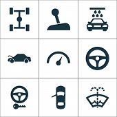 Automobile icons set with key, chassis, repair and other chronometer elements. Isolated vector illustration automobile icons. poster