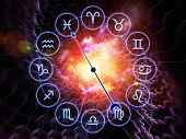 Backdrop composed of Zodiac symbols gears lights and abstract design elements and suitable for use on astrology child birth fate destiny future prophecy horoscope and occult beliefs poster