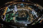 Panorama of down town Dubai modern city at night poster