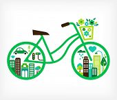 bicycle with green city - vector poster