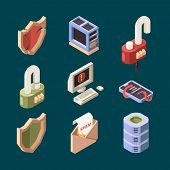 Hacker isometric. Cyber security email spam computer viruses online ddos attack bugs protection information lan theif vector pictures. Computer security, technology attack spam icons illustration poster