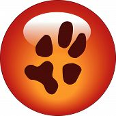 red paw print web button or icon - vector poster