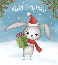 Little Bunny Wishes Merry Christmas. Hand Drawn Illustration