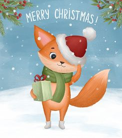 Little Fox With Christmas Present In Its Paws. Hand Drawn Illustration