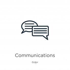 Communications Icon. Thin Linear Communications Outline Icon Isolated On White Background From Gdpr