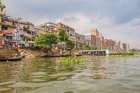 Dhaka,bangladesh - October 27,2019 - On The Banks Of The Buriganga River In Dhaka. Dhaka Is The Capi