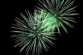 Luxury Fireworks Event Sky Show With Green Big Bang Stars. Premium Entertainment Magic Star Firework